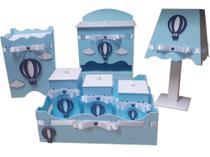 kit higiene bebe 07 peças em mdf pintado azul bebe com apliques de balão em azul 3D luxo - Bia Baby Decor