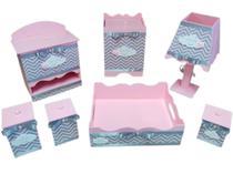 kit higiene bebe 07 peças em mdf pintado rosa bebe com apliques de nuvem luxo - Bia Baby Decor