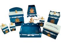 kit higiene bebe 08 peças passa fitas em mdf pintado azul marinho com apliques de urso dourada luxo - Bia Baby Decor