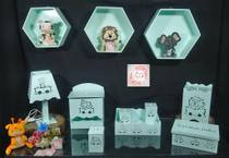 Kit Higiene bebê mdf 8 pçs + 3 Nichos Verdes - SAFARI VERDE (Pronta Entrega) - Flores Para Mariae Decor