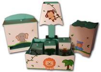 Kit Higiene  bebê MDF Safári Bichinhos da Floresta Verde - Canaã Artesanatos