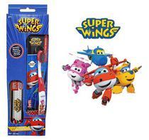 Kit Higiene Bucal com Creme + Escova Dental Infantil de Cerdas Macias e com Capa Protetora Super Wings - Frescor
