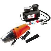 Kit Higiene Carro Aspirador Portáti 60W + Mini Compressor Ar - Over Vision