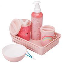 Kit Higiene com 5 peças - bandeja decorada-Arco-íris-Plasútil -