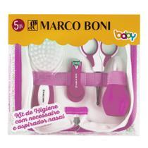Kit higiene cuidados para o bebê com necessaire rosa marco boni -