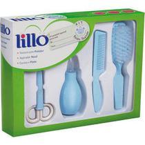 Kit Higiene Infantil Aspirador Tesoura Pente Escova Azul Lillo -