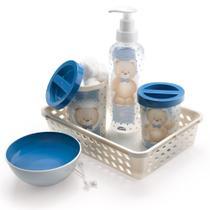 Kit Higiene Para O Bebê 05 Peças Com Bandeja Decorada Urso - Plasútil -