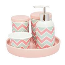 Kit higiene porcelana bebe infantil nuvem com bandeja quarto - Amigold