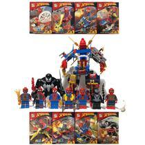 Kit Homem Aranha Longe De Casa + Venom Big + Robô 8x Bonecos Blocos de Montar SY-1183 -