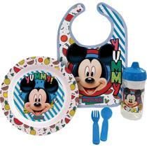Kit Hora da Papinha Mickey Disney Babador/Prato/Talher e Copo - Baby Go -