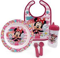 Kit Hora Da Papinha Minnie Disney Babador Prato Talher Copo BabyGo -