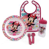 Kit Hora da Papinha Minnie Disney Babador/Prato/Talher e Copo - Baby Go -