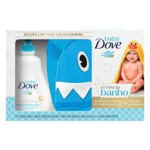 Kit Hora Do Banho Dove Baby Sabonete Líquido Hidratação Enriquecida 400ml + Toalha de Banho Baby Tubarão -