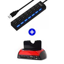 Kit Hub USB 7 Portas 2.0 LED indicador 480 Mbps + Leitor Hd Externo Usb Sata Ssd Ide Clone Usb Tf  Mega Premium - Portas / peba