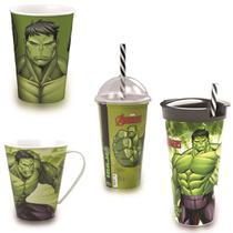 Kit Hulk -  3 Copos diferentes e caneca - Marvel - Plasutil