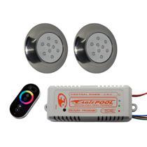 Kit Iluminação 2 Refletores 9w 125mm Super LED RGB + Comando TOUCH Eaglepool Luminária Lâmpada Refletor Central Controlador Fonte Piscina -