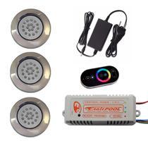 Kit Iluminação 3 Refletores 18w 125mm Super LED RGB + Mini Comando TOUCH Eaglepool Luminária Lâmpada Refletor Central Controlador Fonte Piscina -