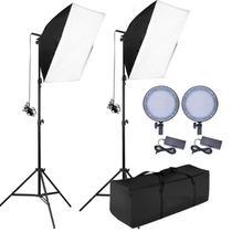 Kit Iluminação Estúdio - Softbox Led Light 50x70 - 126 Leds Ajuste de Cor e Potência - Leadwin