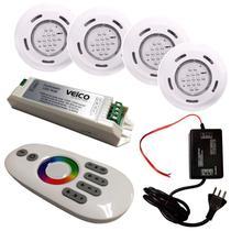 Kit Iluminação para Piscinas com 4 Refletores, Controlador RGB TouchScreen LED e Fonte FLUIDRA -