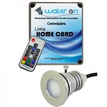 Kit Iluminação Piscina 1 Refletor 12w Led RGB + Controladora CARD - Water ON