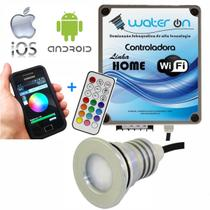 Kit Iluminação Piscina 1 Refletor 12w Led RGB + Controladora WiFi Plus - Water ON