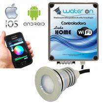 Kit Iluminação Piscina 1 Refletor 12w Led RGB + Controladora WiFi SMART - Water ON