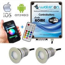 Kit Iluminação Piscina 2 Refletores 12w Led RGB + Controladora WiFi Plus - Water ON