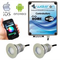Kit Iluminação Piscina 2 Refletores 23W Led RGB + Controladora WiFi SMART - Water ON