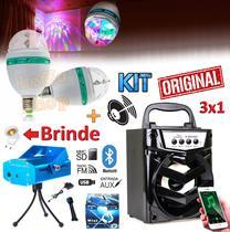 Kit Iluminação Projetor Holográfico Laser Strobo + Lampada Giratória Led Bola Maluca Festa Caixa Som Bluetooth Celular - Leffa Shop