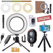 Kit Iluminador Led Ring Light Profissional Usb Anel Mini Tripé Flexível Câmera Celular Controle Bluetooth Vídeo Youtuber - Leffa Shop