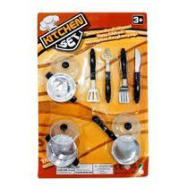 Kit infantil cozinha kitchen set com 10 peças - 99 toys- ddc/fjn -