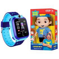 Kit Infantil Criança 1 Boneco Luccas Neto Articulado + 1 Smartwatch Relógio Inteligente Q12 Azul - Smart Bracelet