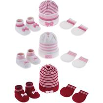 Kit infantil gorro + luva + sapatinho trico Pimpolho meninas -