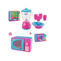 Kit infantil microondas com som e luz + kit liquidificador -