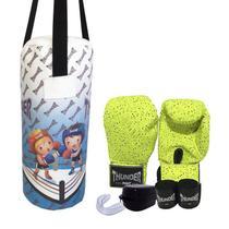 9b99cf7a8 Kit Infantil Muay Thai Boxe kickboxing MMA - Luva verde infantil bandagem  protetor bucal + Saco