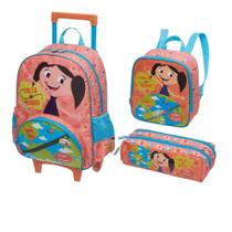 Kit Infantil SHOW DA LUNA VOLTA AO MUNDO-Mochilete, Lancheira e Estojo - Laranja - Pacific
