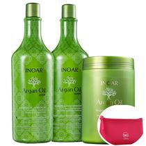 Kit Inoar Argan Oil System Salon Trio (3 Produtos) + Nécessaire Pink Beleza na Web -