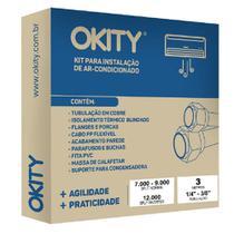 Kit Instalação Ar Condicionado 9.000 a 12.000 Btus Inverter 3 Metros com Suporte Okity -