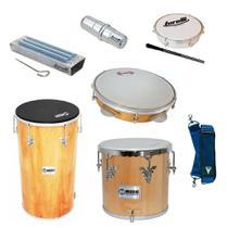 Kit instrumentos tantan 70x14 + repique + pandeiro contemporanea + reco reco + tamborim - Phx