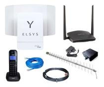 Kit Internet Rural Elsys Amplimax4g  + Tel S/fio + Roteador + Antena + Cabos -