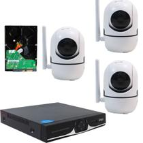 Kit IP Sem fio DVR 04 Canais + 03 Câmera Wifi HD 720P + HD 320GB - Knup