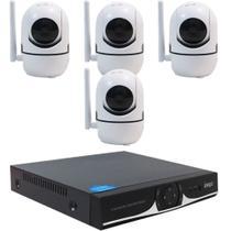 Kit IP WIFI DVR 04 Canais + 04 Câmera IP HD 720P Wifi - Ípega