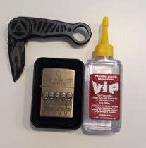 Kit Isqueiro De Metal Recarregavel Tipo Zippo com Fluido (VIP) e Canivete (KNIFE) Preto -