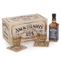 Kit Jack Daniels 375ml + 2 copos + 2 porta copos + baú - Shop quality