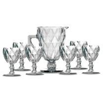 Kit Jarra 1 L + 6 Taças Diamante Clear Casamiga -