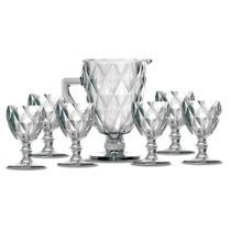 Kit Jarra 1 L + 6 Taças Diamante Clear Vidro Class Home -