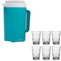 Kit Jarra Térmica 2L azul turquesa e 6 copos vidro de 280ml - Sture Móveis