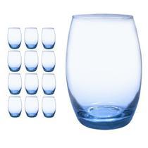 Kit Jogo 12 Copos  Bellagio Redondo 450 ml  Azul Casa Linda -