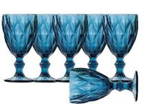 Kit Jogo 6 Taças Copos De Vidro Água Vinho Diamante Azul - Ecos