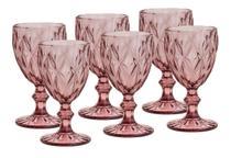 Kit Jogo 6 Taças Copos De Vidro Água Vinho Diamante Rosa - Ecos